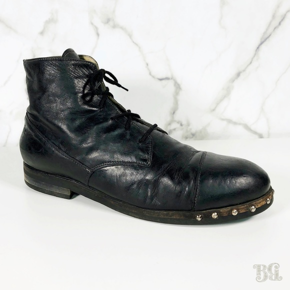 new arrival 929ae fa153 Alexander Hotto Leather Studded Sole Boots